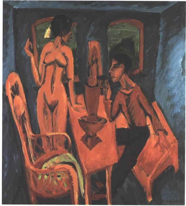 Tower Room. Selfportrait with Erna by Ernst Ludwig Kirchner (1880-1938, Germany) | WahooArt.com