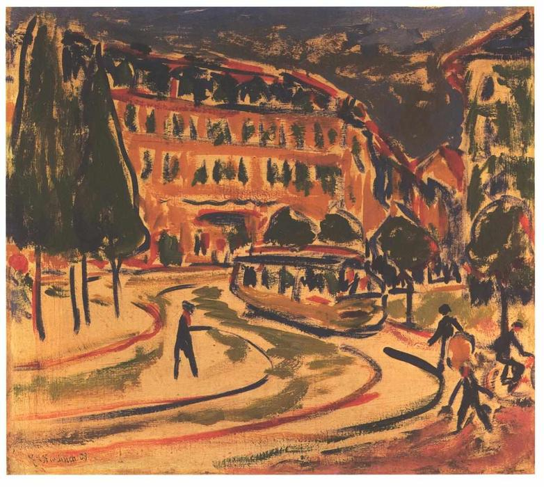 Tramway in Dresden by Ernst Ludwig Kirchner (1880-1938, Germany)