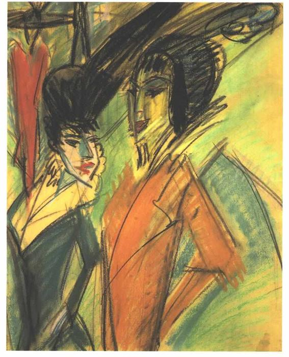 Two Cocottes by Ernst Ludwig Kirchner (1880-1938, Germany)