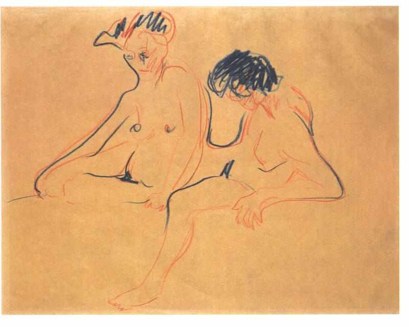 Two Female Nudes by Ernst Ludwig Kirchner (1880-1938, Germany) | WahooArt.com