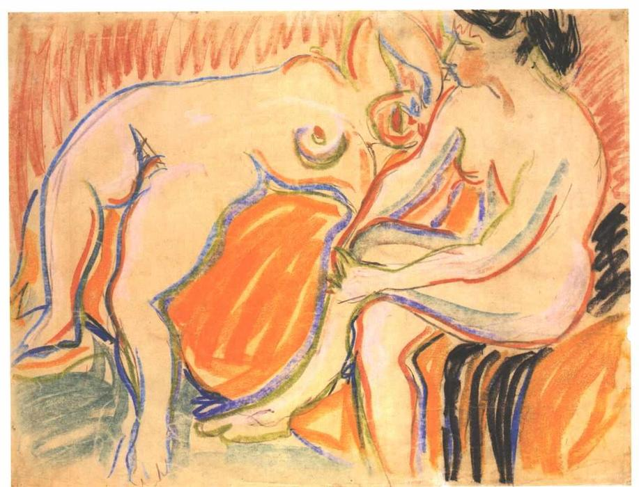 Two Female Nudes by Ernst Ludwig Kirchner (1880-1938, Germany)