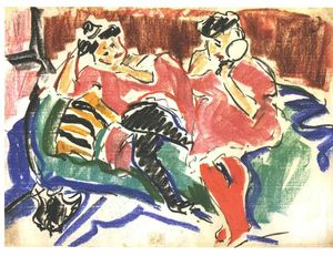Ernst Ludwig Kirchner - Two Women at a Couch