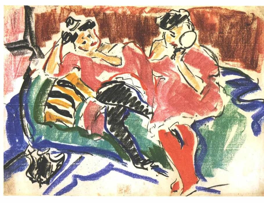 Two Women at a Couch by Ernst Ludwig Kirchner (1880-1938, Germany) | WahooArt.com