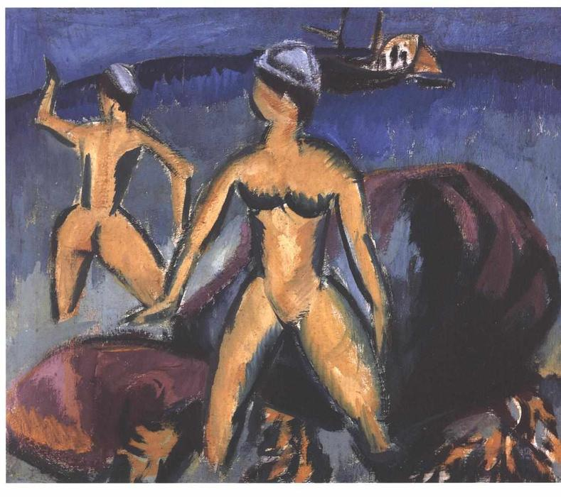 Order Painting Copy : Two Women at the Sea by Ernst Ludwig Kirchner (1880-1938, Germany) | WahooArt.com