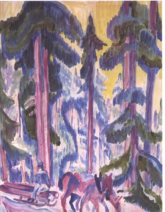Wod Cart in Forest by Ernst Ludwig Kirchner (1880-1938, Germany)