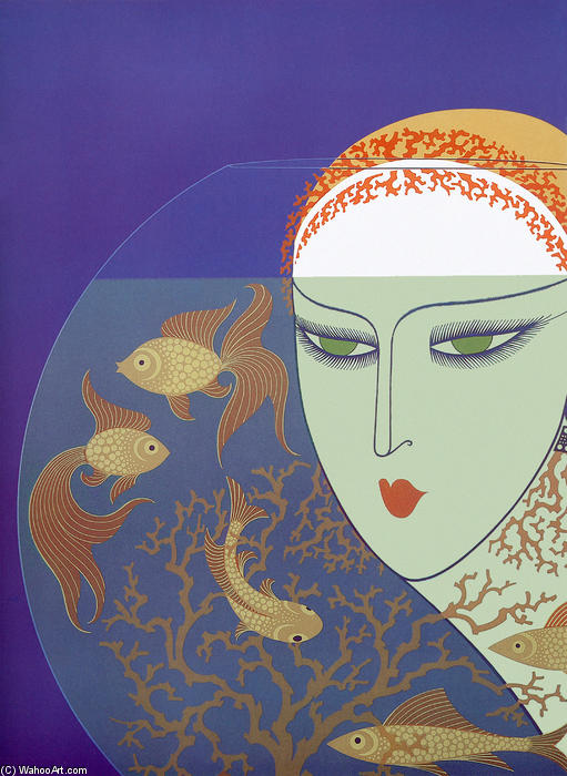 Fish Bowl by Erté (Romain De Tirtoff) (1892-1990, Russia) | Famous Paintings Reproductions | WahooArt.com