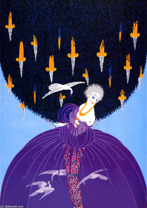 Freedom and Captivity by Erté (Romain De Tirtoff) (1892-1990, Russia) | Oil Painting | WahooArt.com