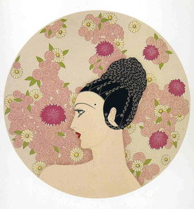 Erté (Romain De Tirtoff) - Profile in Pink Flowers
