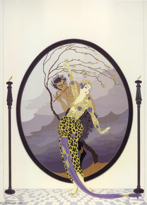 Woman and Satyr by Erté (Romain De Tirtoff) (1892-1990, Russia) | Oil Painting | WahooArt.com