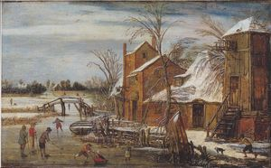 Esaias Van De Velde - Winter scene with skaters