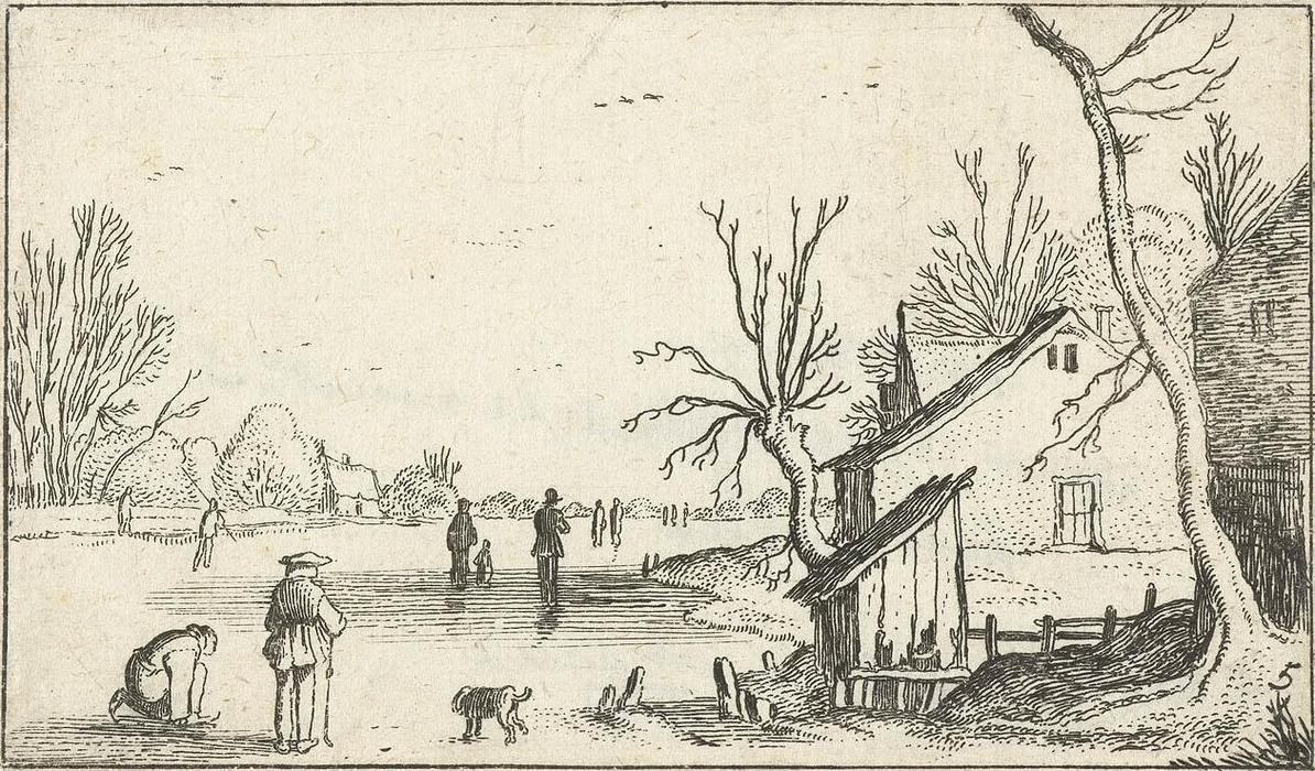 Farm near frozen river with skaters on the ice, 1616 by Esaias Van De Velde (1587-1630, Netherlands) | Art Reproductions Esaias Van De Velde | WahooArt.com