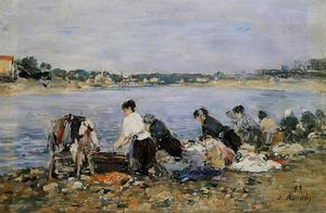 Eugène Louis Boudin - Laundresses on the banks of Touques