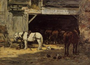 Eugène Louis Boudin - Horses for Hire in a Yard