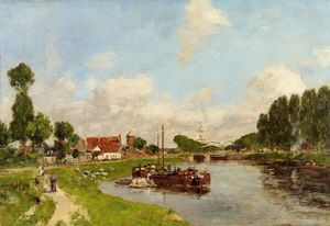 Eugène Louis Boudin - Barges on the canal at Saint-Valery-sur-Somme