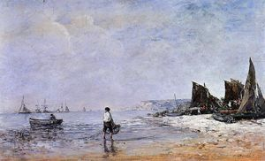 Eugène Louis Boudin - The Fisherman, Low Tide