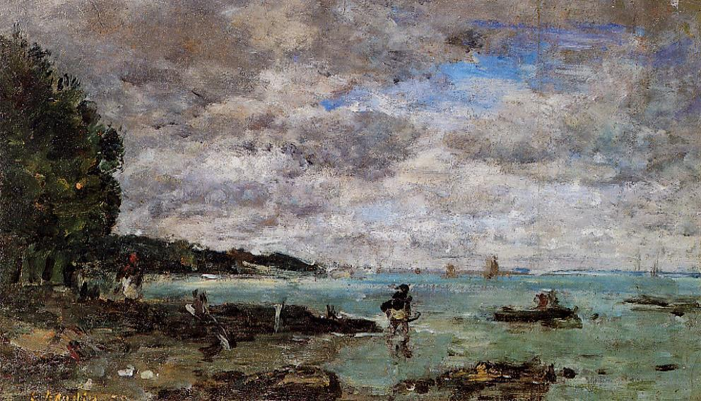 The Coastline at Plougastel, 1869 by Eugène Louis Boudin (1824-1898, France) | Famous Paintings Reproductions | WahooArt.com
