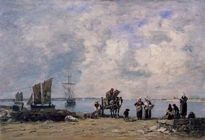 Eugène Louis Boudin - Fishermen-s Wives at the Seaside