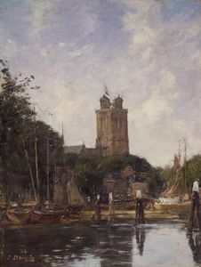 Eugène Louis Boudin - Dordrecht, The Great Church from the Canal