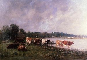 Eugène Louis Boudin - Cows on the Riverbanks of the Touques