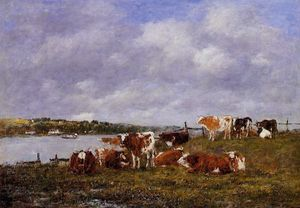 Eugène Louis Boudin - Pasturage, the Valley of the Touques