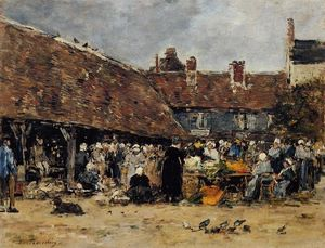Eugène Louis Boudin - Market at Trouville