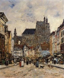Eugène Louis Boudin - Abbeville, Street and the Church of Saint-Vulfran