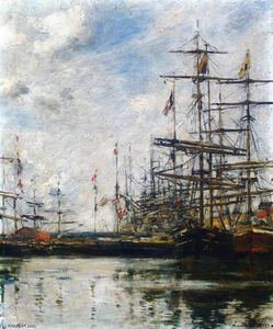 Eugène Louis Boudin - The Port, Ships at Dock