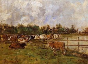 Eugène Louis Boudin - Cows in the Meadow