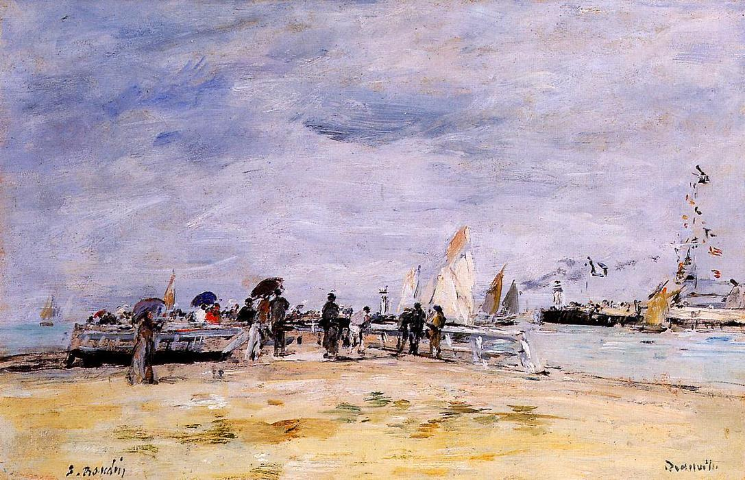 Deauville, the Jetty, Pencil by Eugène Louis Boudin (1824-1898, France)