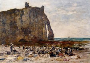 Eugène Louis Boudin - The Laundresses of Etretat