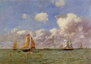 Eugène Louis Boudin - Fishing Boats at Sea