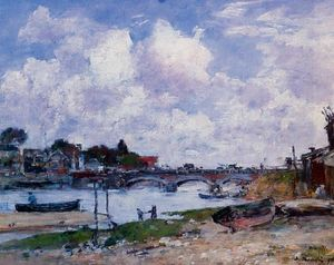 Eugène Louis Boudin - The Bridge over the Toques at Deauville