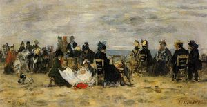 Eugène Louis Boudin - Beach Scene at Trouville