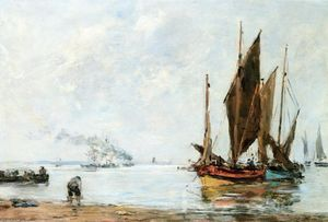Eugène Louis Boudin - Boats At Anchor along the Shore