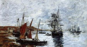 Eugène Louis Boudin - Camaret, Boats on the Shore