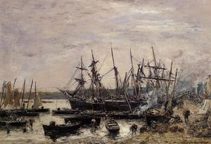 Eugène Louis Boudin - Camaret, Fishing Boats at Dock