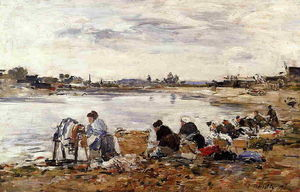 Eugène Louis Boudin - Laundresses on the Banks of the Touques (10)