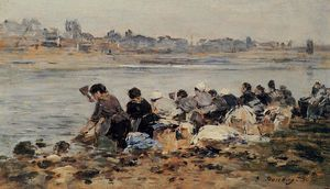 Eugène Louis Boudin - Laundresses on the Banks of the Touques (11)