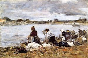 Eugène Louis Boudin - Laundresses on the Banks of the Touques (14)