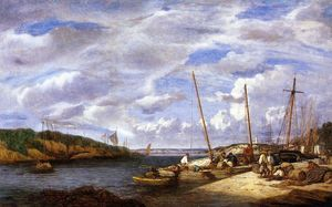 Eugène Louis Boudin - Douarnenez, Fishing Boats at Dockside
