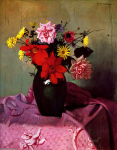 Felix Vallotton - Pinks and daisies or Pinks and dahlias