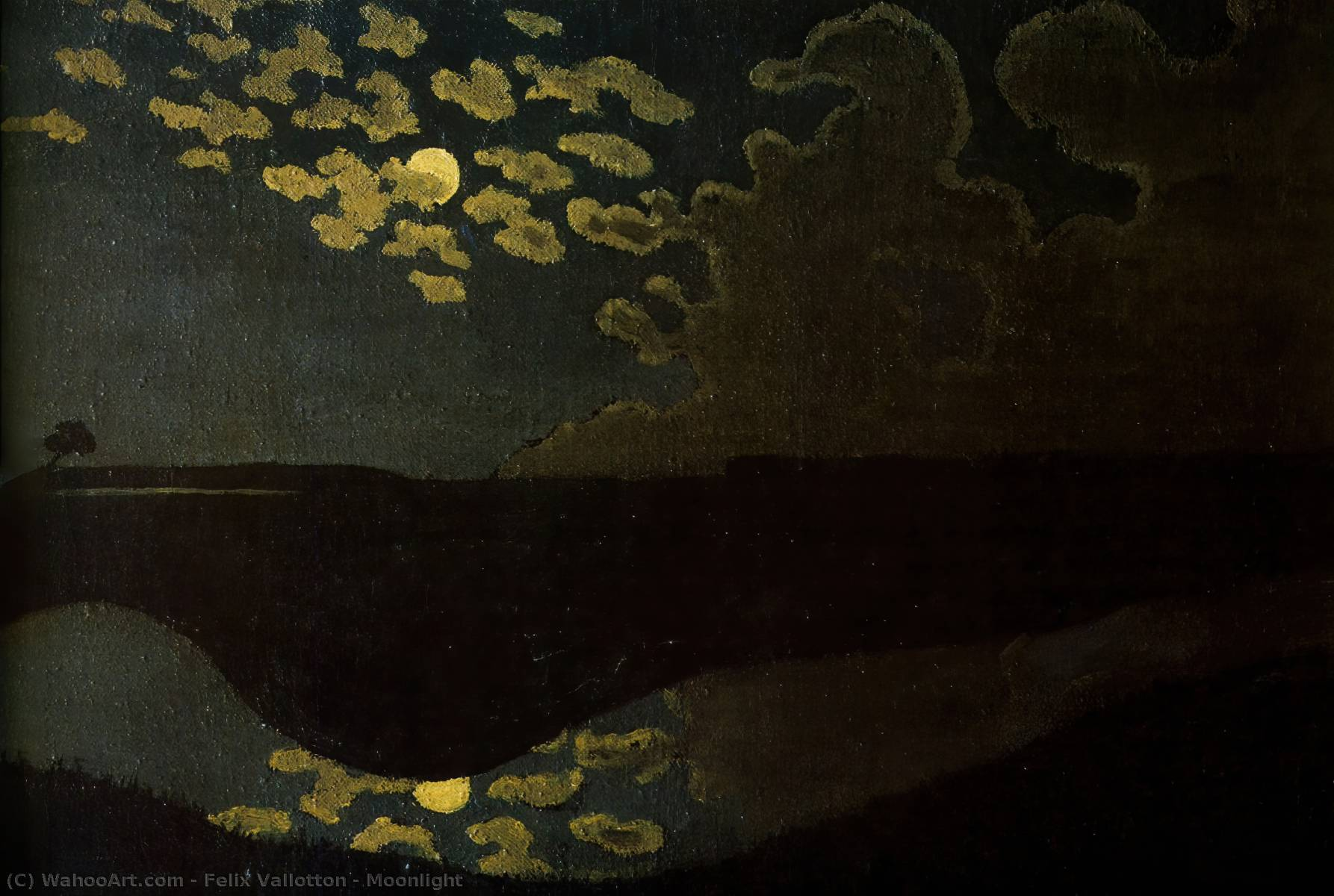 Order Art Reproductions | Moonlight, 1895 by Felix Vallotton (1865-1925, Switzerland) | WahooArt.com