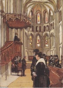 Ferdinand Hodler - Prayer in the Saint Pierre Cathedral in Geneva