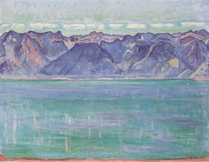 Ferdinand Hodler - Lake Geneva, overlooking the Savoyerberge