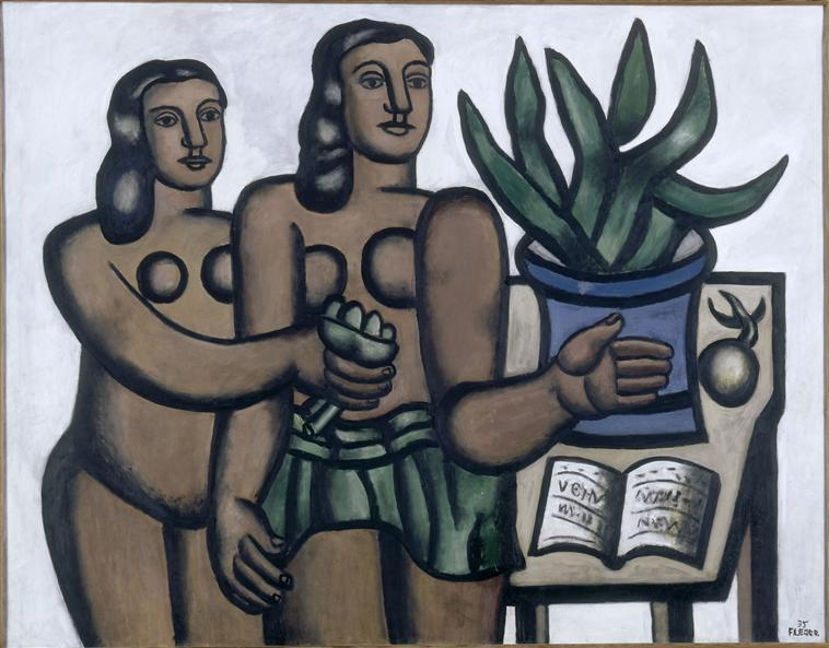 The two women in blue vase, 1935 by Fernand Leger (1881-1955, France)