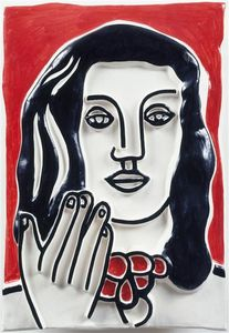 Fernand Leger - Face by hand on a red background