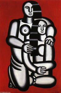 Fernand Leger - Two Figures, naked on red bottom