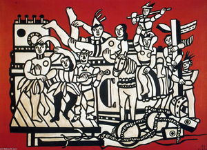 Fernand Leger - The large one parades on red bottom