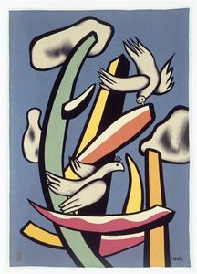 Fernand Leger - The white birds on blue background
