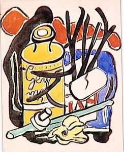 Fernand Leger - Composition in yellow bottle